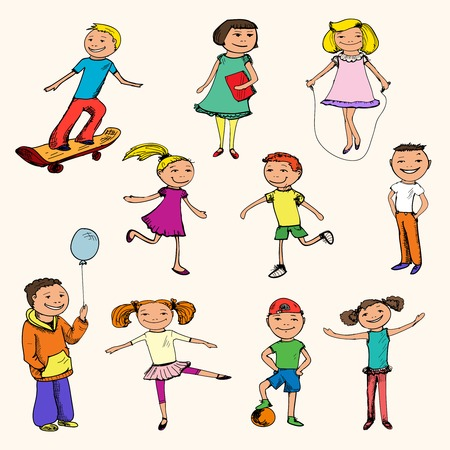 Children boys and girls sports colored sketch characters set isolated illustration Vector