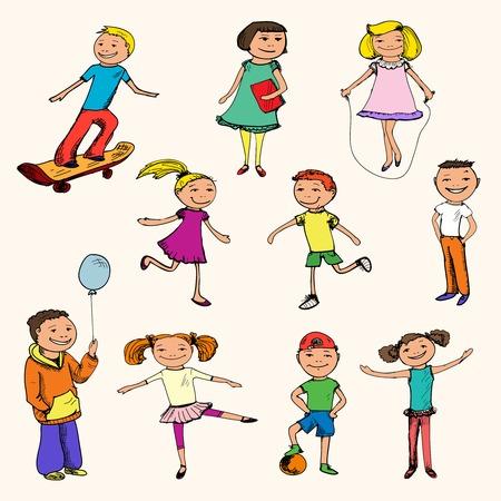 tanzen cartoon: Kinder Jungen und Mädchen Sport farbige Skizze Zeichen gesetzt isoliert Illustration Illustration