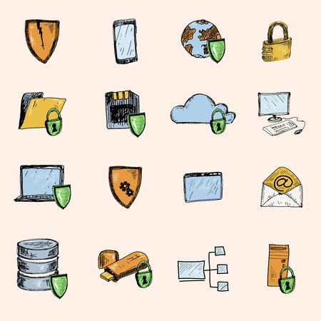 Computer data protection and secure information exchange sketch icons colored set isolated illustration Vector