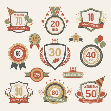 Anniversary celebration retro label set with decoration isolated illustration