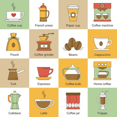 french bean: Coffee flat icons set with paper cup french press machine isolated illustration
