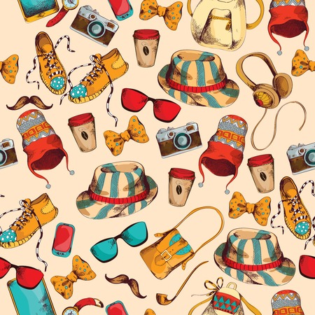 Hipster pack sketch coloder seamless pattern with retro fashion trendy accessories illustration Vector