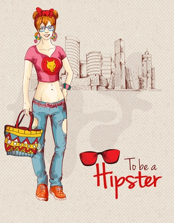 Hipster fashion trendy unban girl sketch character with city background vector illustration Vector