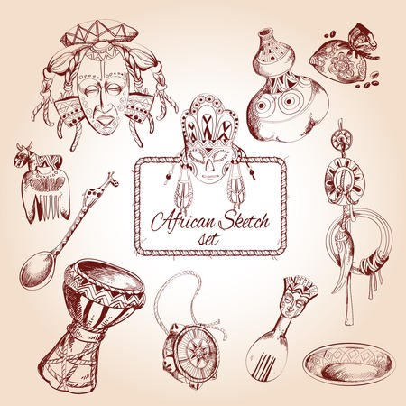 african drums: Africa jungle ethnic tribe culture travel sketch decorative icons set isolated illustration