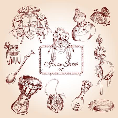 Frica Dibujar Iconos Decorativos En Forma De Continente Africano ...