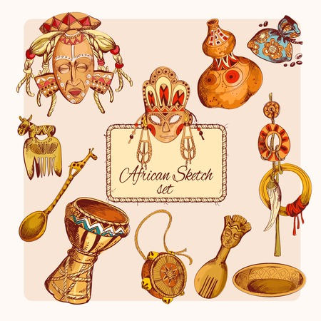 Africa safari ethnic tribe culture travel sketch colored decorative icons set isolated illustration