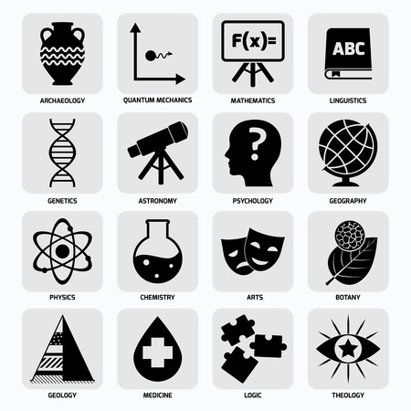 archaeology: Science areas black icons set with archaeology quantum mechanics mathematics isolated illustration