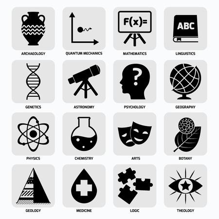 linguistics: Science areas black icons set with archaeology quantum mechanics mathematics isolated illustration
