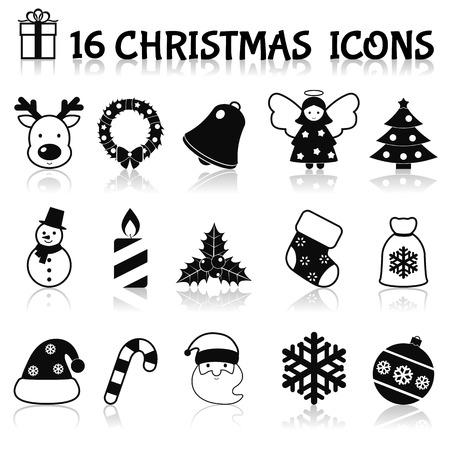 black pictogram: Christmas holiday decoration black icons set with deer wreath bell angel isolated illustration Illustration