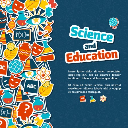 quantum physics: Science and education areas colored paper stickers set on blue background vector illustration