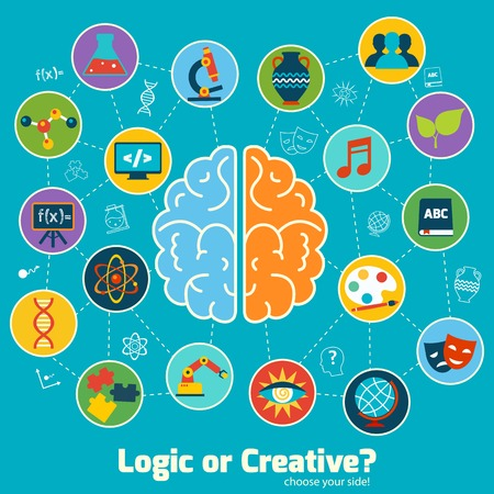 Brain left logic and right creative hemispheres concept with science icons set illustration Çizim