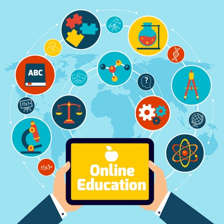 sociology: Online education concept with science icons human hand holding mobile tablet vector illustration. Illustration