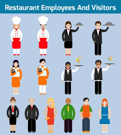 hotel staff: Restaurant employees and visitors flat avatars set with waiter chef servant isolated illustration