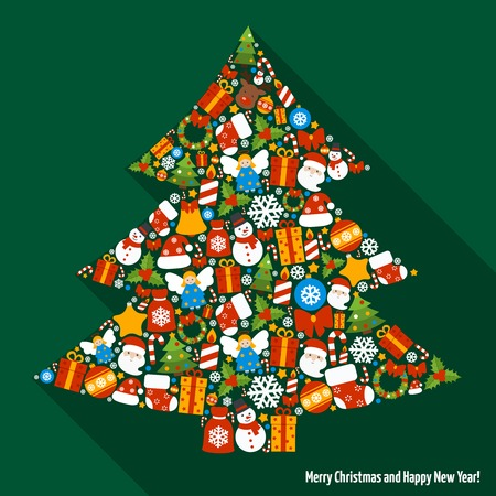 Merry christmas and happy new year icons in pine tree shape illustration 向量圖像