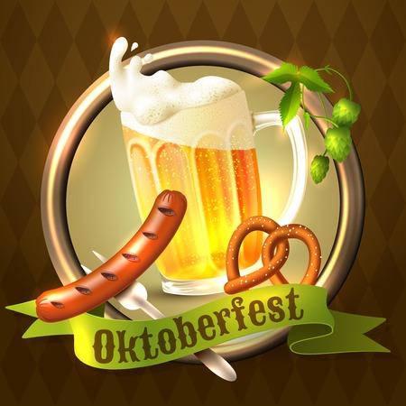 Oktoberfest german festival background with beer mug sausage pretzel and hop illustration. Vector