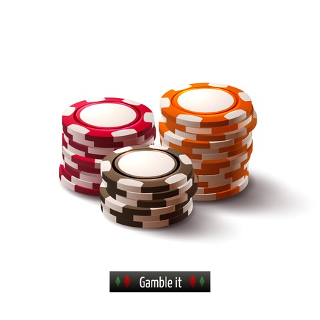 chips stack: Casino roulette gambling realistic chip stacks isolated on white background illustration