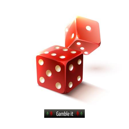 Game gamble casino dice set realistic isolated on white background illustration