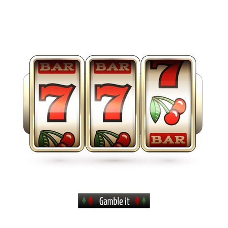 machine: Game gamble casino slot machine realistic isolated on white background illustration