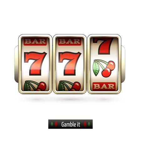 maquinas tragamonedas: Juego de m�quina tragaperras del casino apuesta realista aislado en fondo blanco ilustraci�n