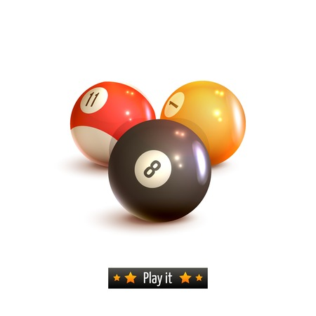 pool game: Billiard pool game balls realistic set isolated on white background illustration