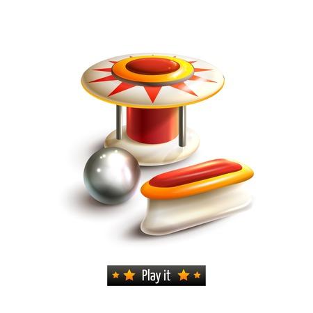 핀볼 레저 게임기 현실적인 세트 흰색 배경 일러스트 레이 션에 고립