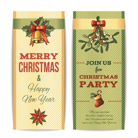 Merry christmas party celebration vertical banner set isolated illustration Vector