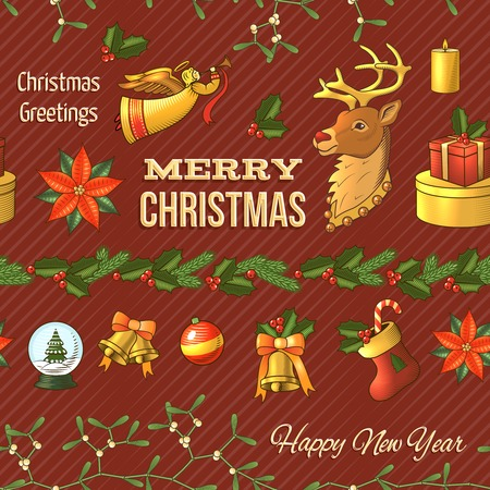 huge christmas tree: Christmas new year colored seamless pattern with celebration elements isolated illustration