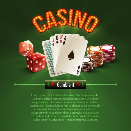 dealer: Pocker casino gambling set with dice cards chips on green background illustration