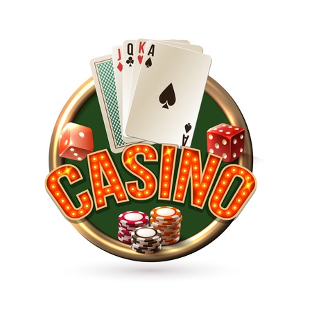 casino dealer: Poker casino gambling risk chance emblem with dice cards chips illustration.