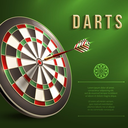 Darts board goal target competition realistic sport object on green background illustration Stock Illustratie