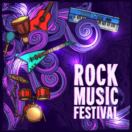 Rock music festival poster with electric guitar drums keyboard instruments illustration