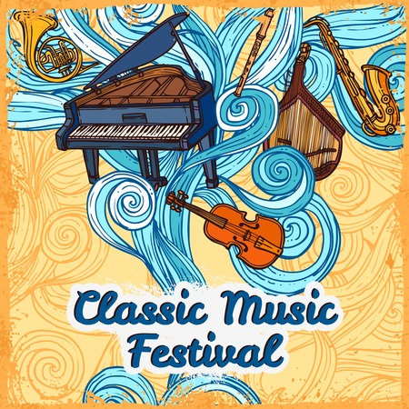 Classic music festival poster with piano violin trumpet instruments illustration