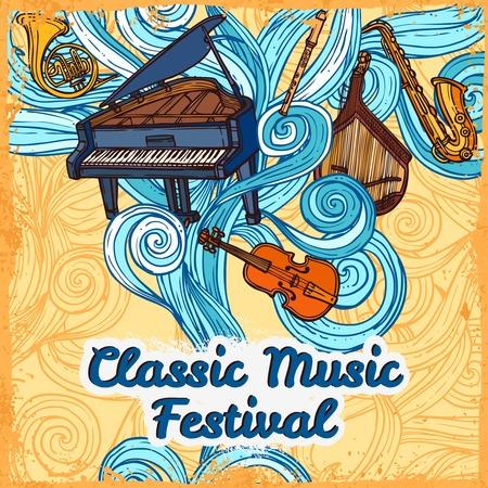 Klassieke muziek festival poster met piano viool trompet instrumenten illustratie