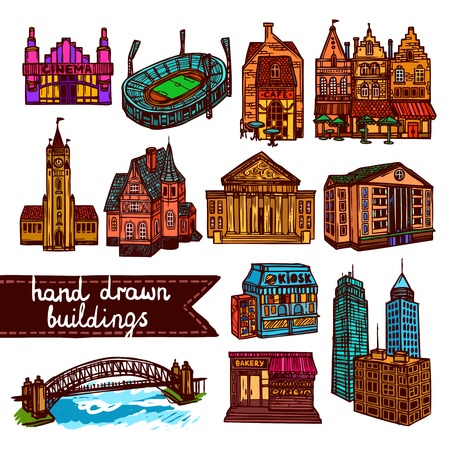 Sketch city building architecture decorative color icons set isolated illustration Vector