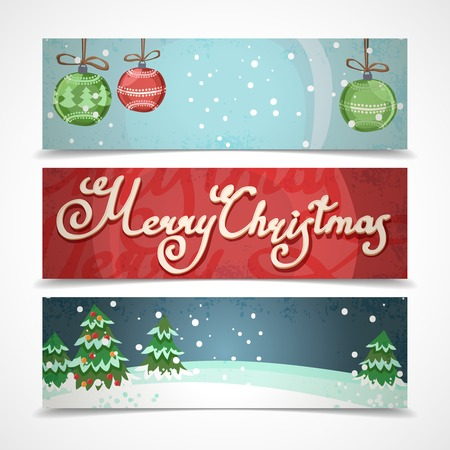 Merry christmas new year holiday elements horizontal banners set isolated illustration 矢量图像
