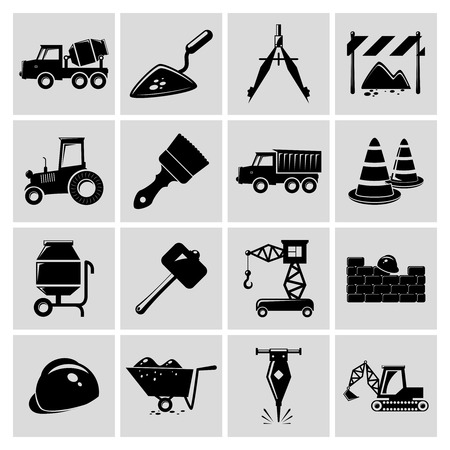Construction and building engineer equipment black icons set isolated illustration