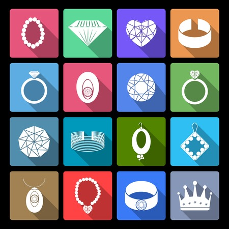 cuff link: Jewelry icons flat set of precious fashion accessories isolated illustration