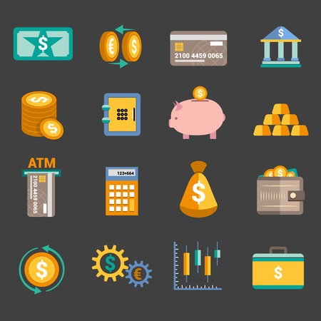 cuenta bancaria: Dinero Iconos del servicio del Banco establecen con aislado tarjeta de almacenamiento caja de dinero ilustración Vectores