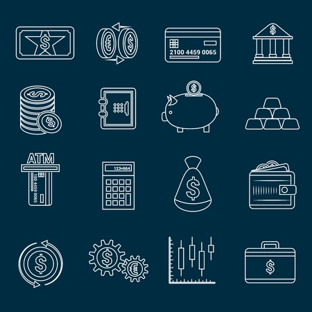 reserve: Bank service money outline icons set with gold reserve and piggy bank isolated illustration Illustration