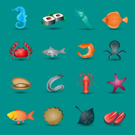 Seafood icons set with fish octopus shrimp stingray isolated illustration Vector