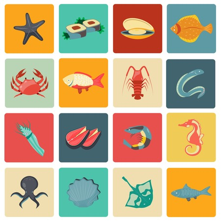 Seafood icons flat set with seahorse eel stingray sushi isolated illustration Vector