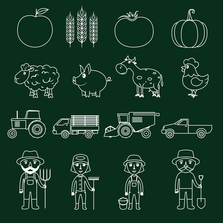 Farm agriculture farmer avatar outline business icons set isolated illustration Vector