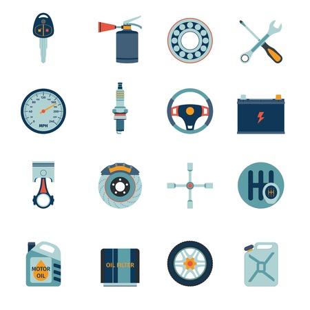 muffler: Car system parts technology auto service flat icons set isolated illustration