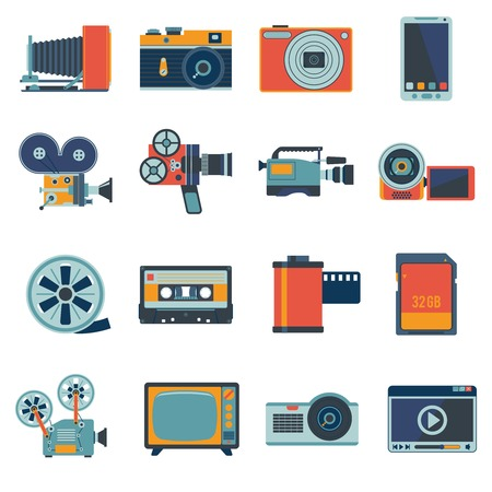 video camera: Photo video camera and multimedia equipment flat icons set isolated illustration Illustration