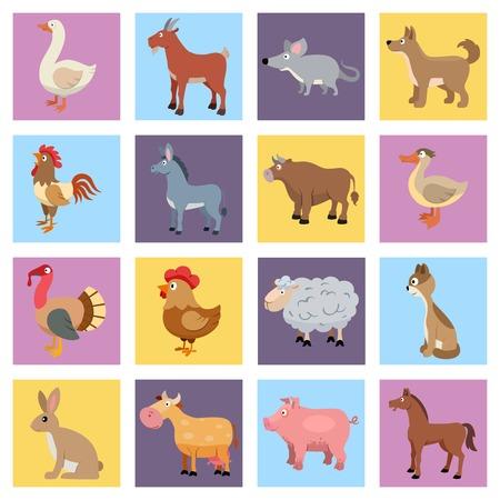 ファーム動物と家畜とペット アイコン セット隔離された図