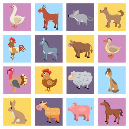 Farm animals livestock and pets icons set isolated illustration Vector