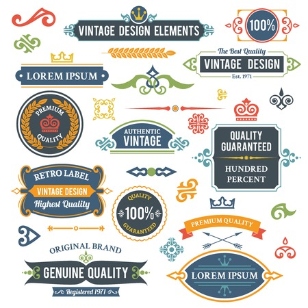 Vintage design elements frames and ornaments set isolated illustration