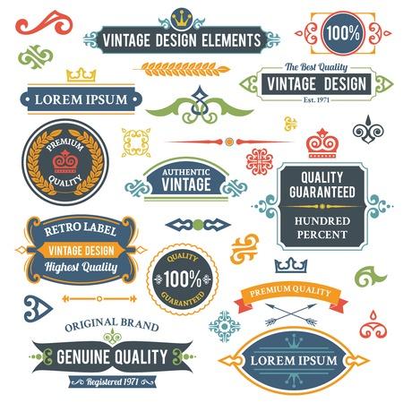 Vintage design elementen frames en ornamenten geïsoleerde illustratie
