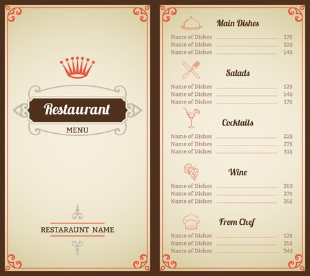 Restaurant Menu List Brochure With Food And Drink Decorative Elements  Illustration Vector