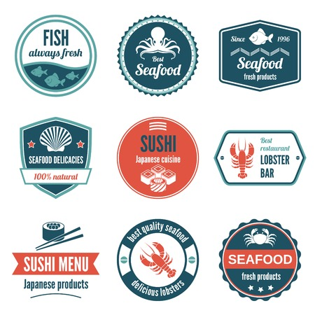 Seafood always fresh fish products delicacies sushi japanese cuisine lobster bar icons set isolated vector illustration. Vector